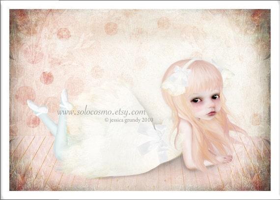 "5x7 Premium Art Print ""The Swan Princess"" Small Size Giclee Print - Lowbrow Art Swan Lake Ballet Little Girl Ballerina"