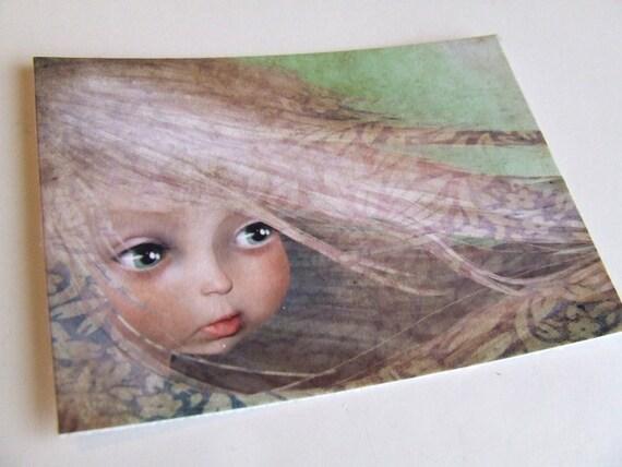 "ACEO/ATC Mini Fine Art Print ""Spring"" Artist Trading Card 2.5x3.5 - Lowbrow Art Print of Original Artwork by Jessica Grundy"
