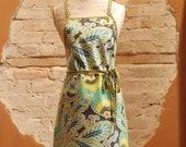 Modern Vintage Laminated Cotton Full Apron - Aqua Floral and Polka Dot Fabrics - Hostess, Ladies or Teens Gifts - Gardening Cooking Craft