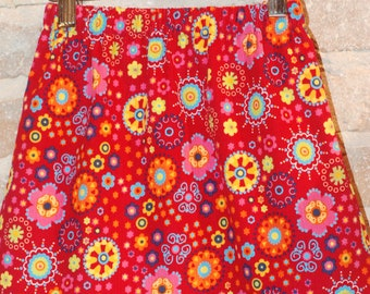 Whimsical Floral Corduroy A-line Skirt - modern toddler girls clothing - fall fashion - made to order - sizes 2T 3T 4 5 6 7 8