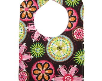Carnival Bloom Reversible Bib with snap closure