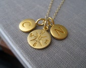 compass couples necklace, his and her initial necklace, personalized jewelry