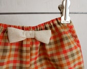 Thanksgiving clothing baby girls Bloomer shorts Fall orange plaid - new born, 3m, 6m, 9m, 12m, or 18m - evelynfields