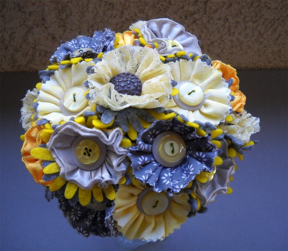 Yellow and Gray Wedding Fabric Button Satin Lace Bouquet for Bride