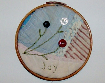 JOY Upcycled Quilt Block Wall Hanging