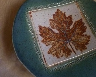 Floating Leaf, Footed Plate, handmade