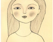 Girl Illustration Print of  Drawing in Pencil Neutral Colors