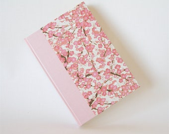 Lined blank book journal - 6x8.5 in 15x22cm - pink plum blossom chiyogami - Ready to ship