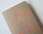 blue and orange triangles neon stitched large moleskine, choice of paper