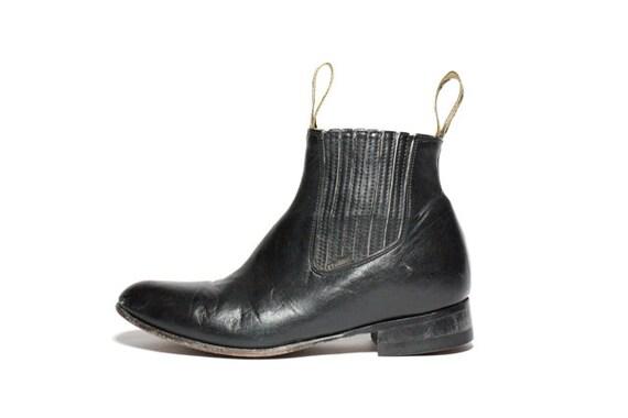 VTG Black Leather Slip On Chelsea Ankle Boots 8.5