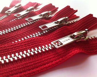 Metal Zippers- YKK nickel teeth zips- (5) pieces - Red 519- Number 5s- Available in 5,7,9,12 and 14 Inches