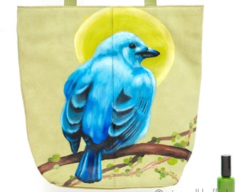 SALE! Vintage green suede bag 'Green Fields', hand-painted with a bird