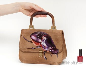 Vintage leather bag 'Crawling in Barcelona', hand-painted