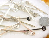 45mm Silver Plated Hair pins, Iron, with Blank Glue Pad - 12 pc set