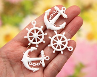 30mm White Anchor and Ship's Wheel or Helm Set Acrylic or Resin Charms - 16 pc set