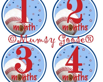 Baby Boy Age Stickers Baby Months Stickers Baseball Boy Milestones Month Baby stickers Waterproof  Great Newborn Photo Prop