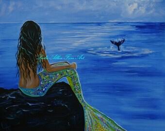 "Mermaid ART PRINT Mermaids  Giclee Wall ART Mermaid Decor Beach Art Mermaid Theme Whale Art Whales   ""Whale Watching"" Leslie Allen Fine Art"