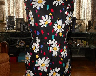 1980s Victor Costa black dress sundress bows bustle daisy floral polka dot open back