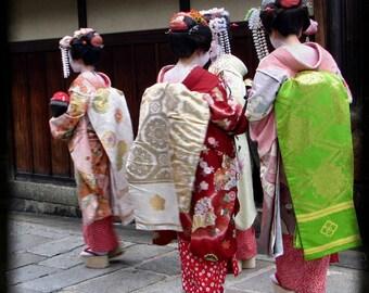 "Geishas in Kyoto, a 5x5"" original photographic print"