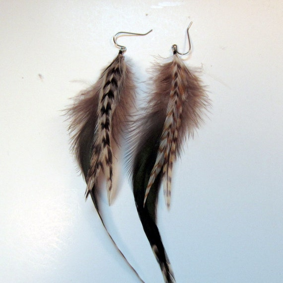 Chinchilla Feather Earrings Natural Real