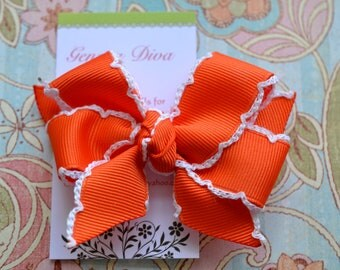 Orange with White Crochet Edge Classic Diva Bow