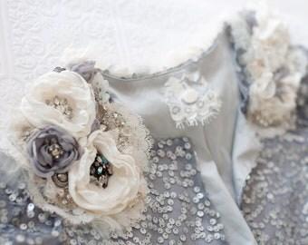 Sale, Silver Bridal Bolero with flowers, rhinestones and detailed beadwork, size Medium