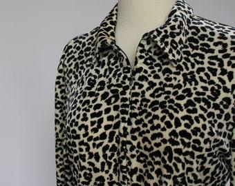 80's Animal Print Velour Blouse / Zip Front / Medium to Large