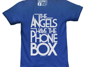 The Angels Have The Phone Box T-shirt White/Royal Blue Size 2XL