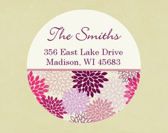 Return address labels, stickers, tags, envelope seals, round--Mums