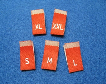 500pcs Damask Woven Size Labels ( Red background with White letter ) Free Shipping