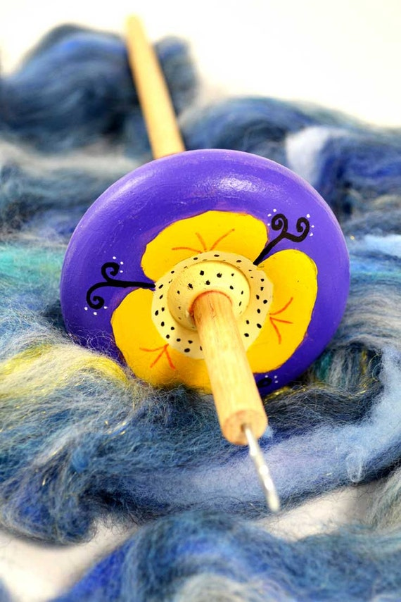 Handcrafted Top Whorl Drop Spindle - Poppy Design