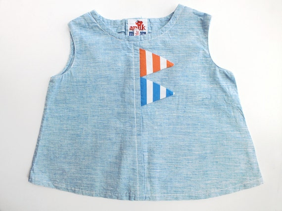 French Vintage Sixties Sky Blue Baby Bunting Pennant Flag Tank Top