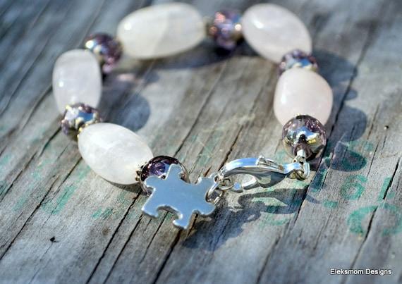 Autism Awareness bracelet Sterling siver pink rose quartz.