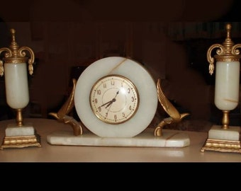 Antique FABULOUS MARBLE Deco CLock & Sconce pair gilt