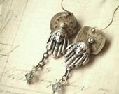 Sacred Prayer - Asymmetrical Earrings, Steampunk Earrings, Art Nouveau Earrings, Silver Earrings