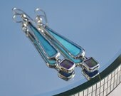 Blue and iridescent purple dangle earrings