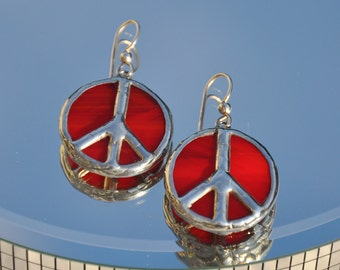 Red stained glass peace earrings