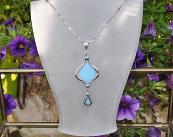 Blue Glass and Silver Eastern Petal necklace
