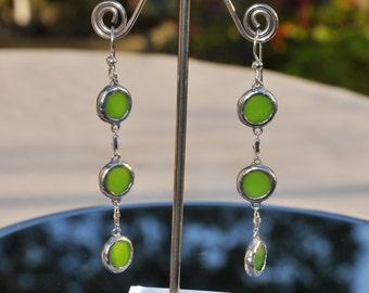 Green glass circle drop earrings