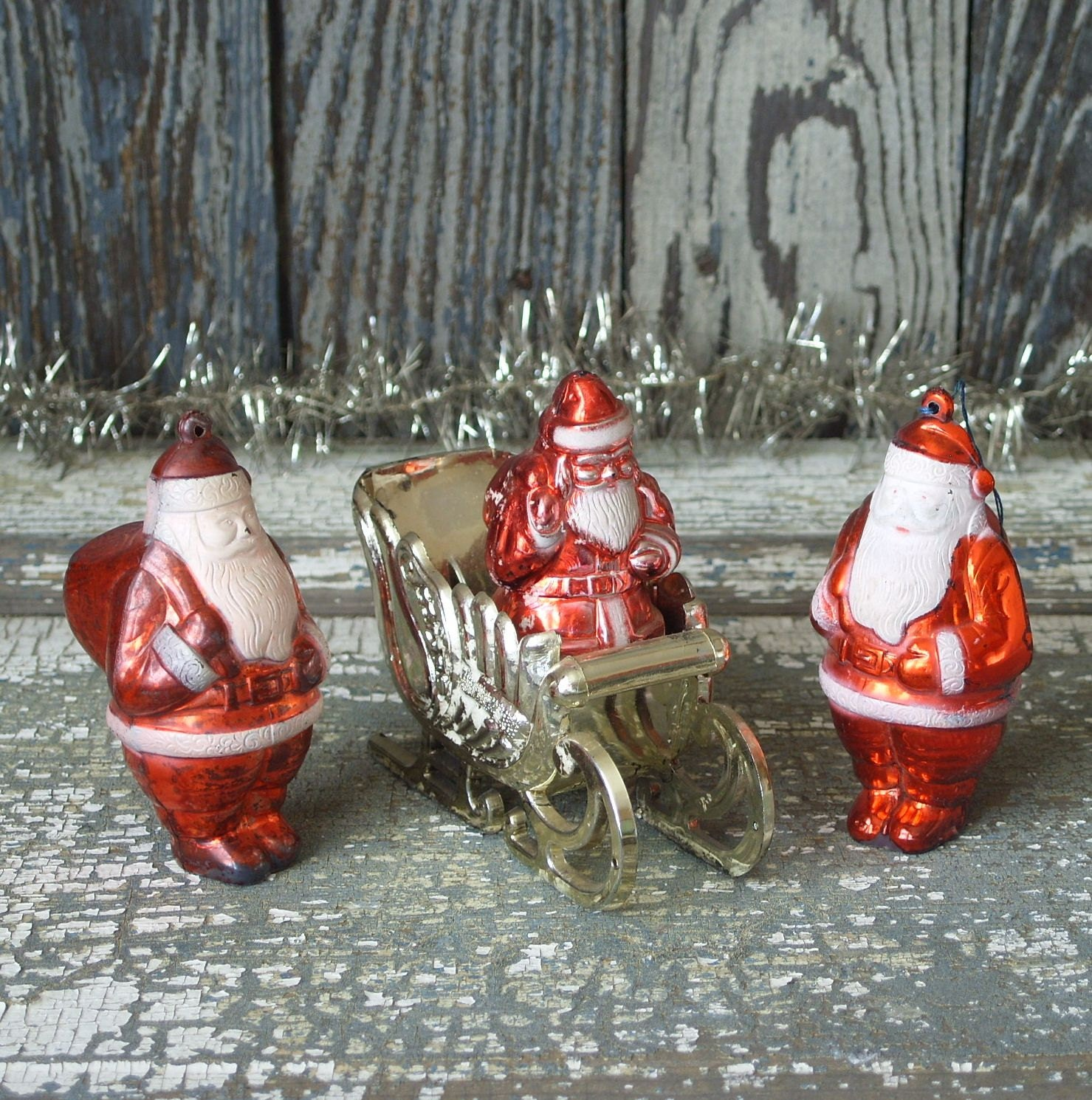Lot Of 5 Vintage Christmas Decorations Kitsch Santa Claus: Vintage Hard Plastic Santa Claus Sleigh Christmas Ornament Lot