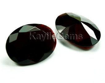 Vampire Blood 30x22mm Oval Faceted Brilliant Cut Pointed Back Unfoiled - Deep Red -1 Pc