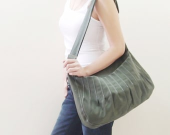 Canvas Sling Bag in Army Green, Crossbody bag, Market Bag, Shoulder Bag, Everyday Purse, Handbags, Gift Ideas for Women - KANGAROO - 40% OFF