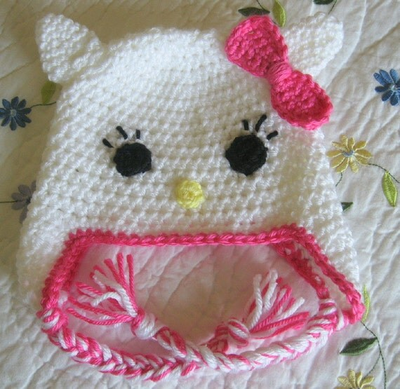 Hello Kitty Baby Hat Knitting Pattern : Crochet Hello Kitty Baby Hat With Earflaps by GrandmaLindasHouse