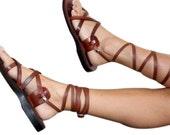 Brown Gladiator Leather Sandals for Men & Women (Triple Design)