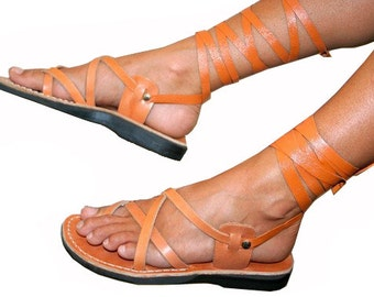 Caramel Gladiator Leather Sandals For Men & Women (triple Design) - Handmade Sandals, Unisex Gladiator Sandals, Natural Leather Sandals