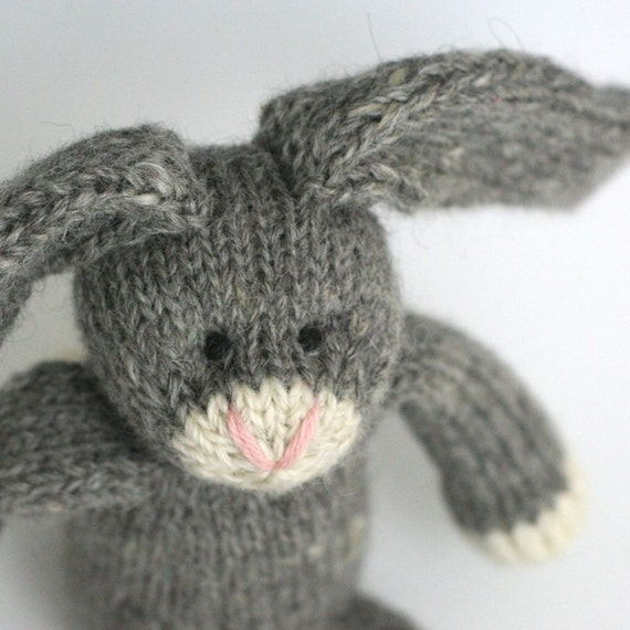 "Alpaca and Wool Rabbit - Pepper - Hand Knit  Stuffed Toy Bunny, 12"" tall"