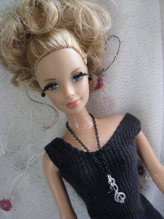 Musical Treble Clef  Necklace Chain Doll Jewelry Set Barbie Blythe Silkstone Fashion Royalty