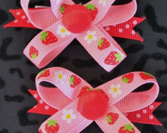 Strawberry Shortcake Snap N Go Dog Hair Bows - Set of 2 or Custom Single