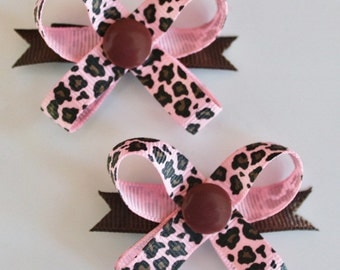 Pink Leopard Snap N Go Dog Hair Bows - Set of 2 or Custom Single