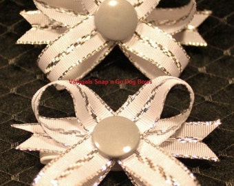 White / Silver Snap N Go Dog Bows: Set of 2
